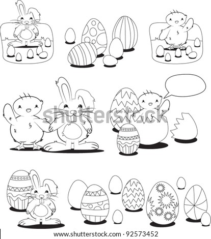 Easter Bunny And Chick Coloring Book Elements