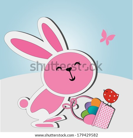 Easter bunny basket of eggs and adorable birdie - stock vector