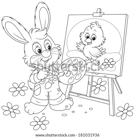 Easter Bunny drawing - stock vector