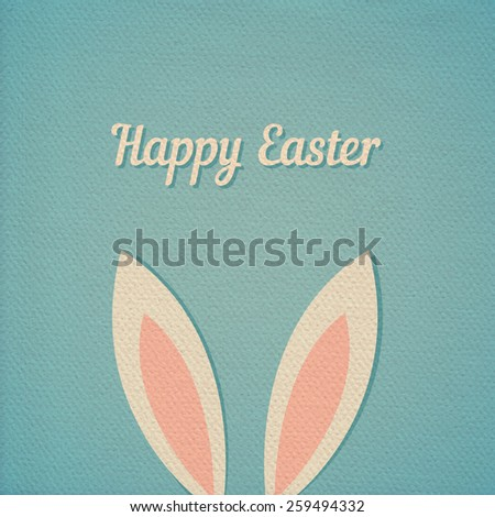 Easter bunny ears card, realistic paper effect color cardboard background - stock vector