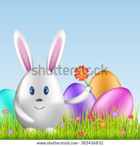 Easter bunny egg and colorful eggs on spring meadow. Easter background. Vector illustration
