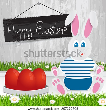 Easter bunny. Happy Easter . red Easter eggs.The grass with a wooden fence and flowers. - stock vector