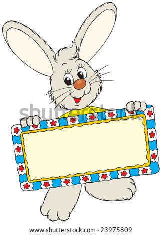 Easter Bunny holding a decorative frame for the text - stock vector