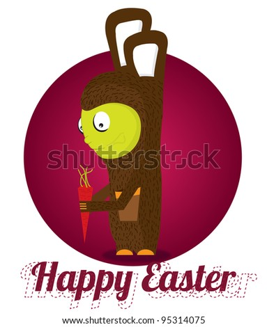 Easter bunny in red circle