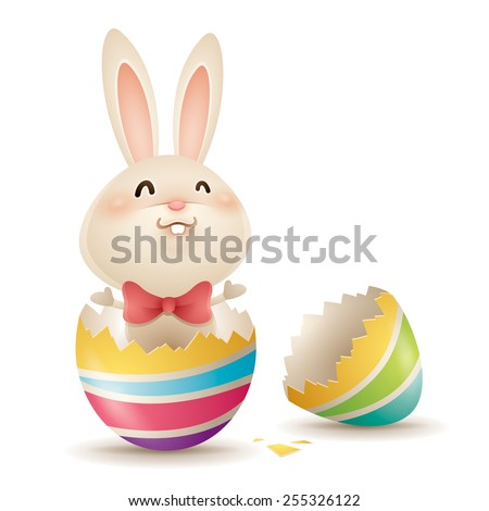 Easter bunny inside a cracked egg - stock vector