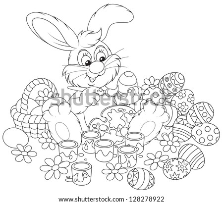 Easter Bunny painting Easter eggs to the upcoming holiday, black and white outline illustration for a coloring book - stock vector