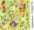 Easter bunny pattern - stock photo