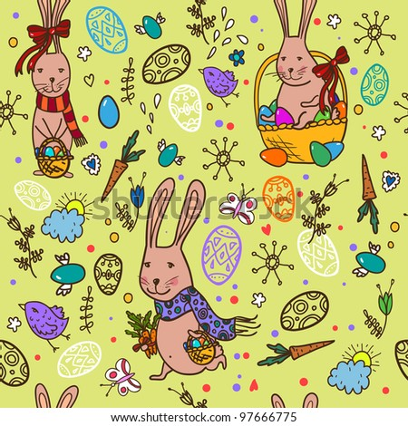 Easter bunny pattern - stock vector