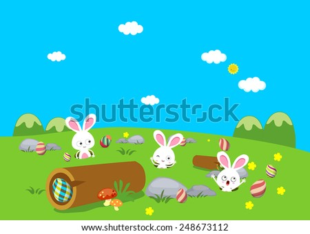 Easter bunny playful with eggs colorful - stock vector