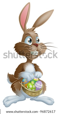 Easter bunny rabbit holding Easter basket full of decorated Easter eggs - stock vector