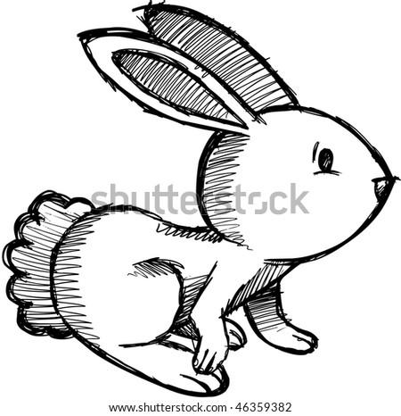 Easter Bunny Rabbit Vector Sketch Doodle - stock vector