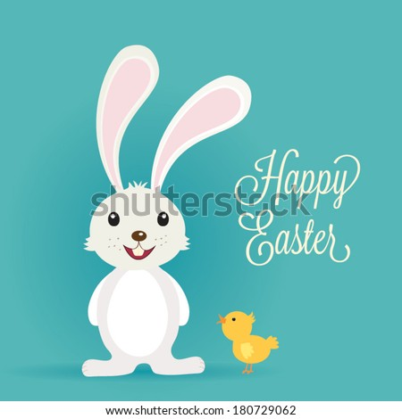 Easter bunny rabbit with Easter chick - stock vector