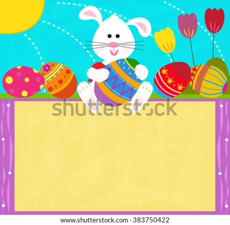 Easter Bunny Sign - Cute bunny is holding an Easter egg and sitting on top of a blank sign. Eps10