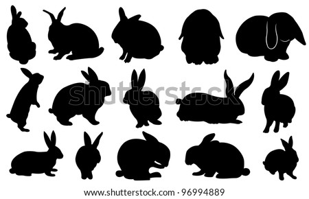 Easter bunny silhouette set - stock vector