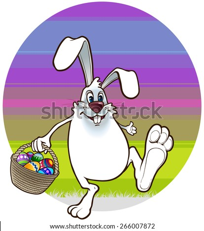 Easter Bunny walks with a basket full of easter eggs - stock vector