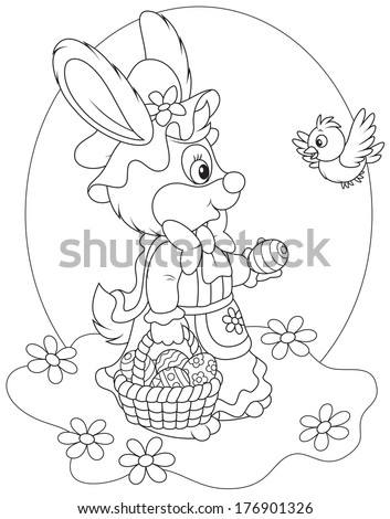 Easter Bunny with a basket of decorated eggs - stock vector
