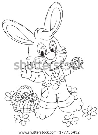 Easter Bunny with a basket of eggs  - stock vector