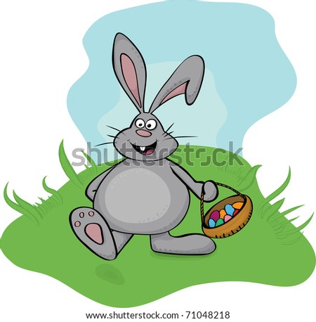 Easter bunny with basket - stock vector