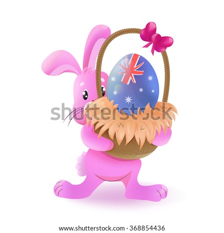 Easter bunny with basket and easter egg (vector). Easter egg decorated with flag of the country (Australia). Basket with easter egg and bow. Pink Easter Bunny isolated on white background. - stock vector