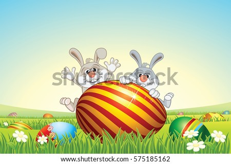 Easter Bunny with Easter Eggs on Scenic Landscape Background.