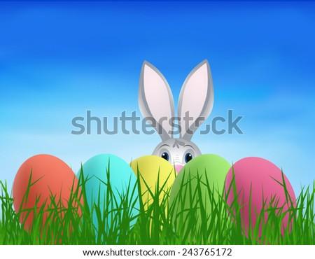 Easter Bunny Eggs Stock Vector 243765172 - Shutterstock