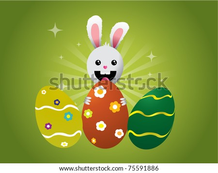 Easter bunny with eggs on green background - stock vector