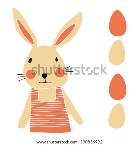 Easter bunny with eggs - vector illustration - stock vector