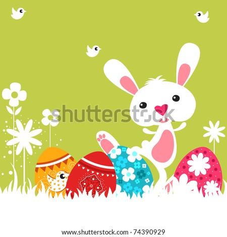 Easter bunny with her easter eggs - stock vector