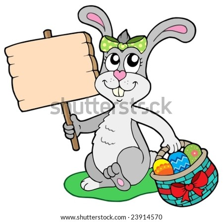 Easter bunny with wooden sign - vector illustration.