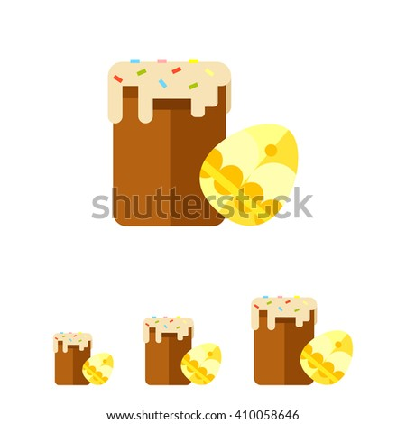Easter cake and decorated egg flat icon - stock vector