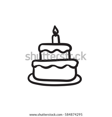 Easter Cake Candle Vector Sketch Icon Stock Vector 584874295