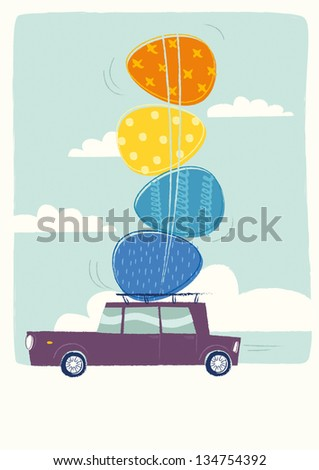 Easter car - stock vector
