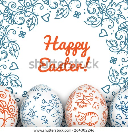 Easter Card. Folk paints. Happy Easter. Vector objects. 3D. Realistic Easter eggs. Vector background. Folk floral painting.  - stock vector