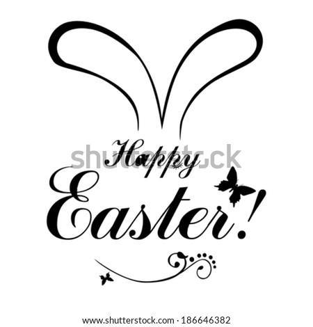Easter card. Happy Easter hand drawn lettering. Vector illustration  - stock vector