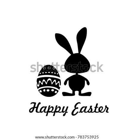 Easter Card Icon Label Rabbit Symbol Stock Vector 783753925