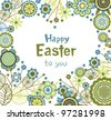 Easter card in heart shape - stock vector