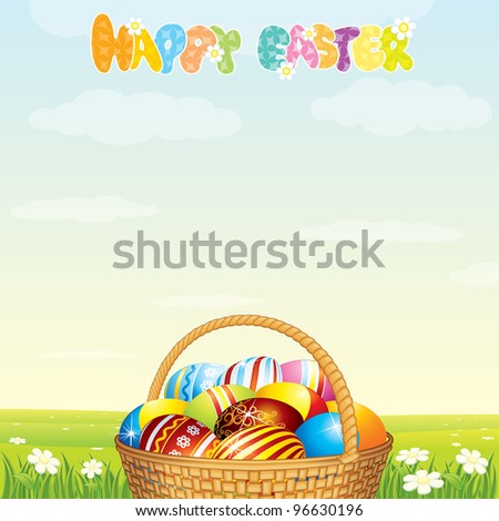 Easter Card Template. Wicker Basket with Colorful Eggs on Spring Meadow
