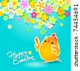 Easter card with a funny chicken on a blue background with flowers. Vector illustration. - stock vector