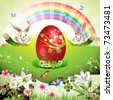 Easter card with bunny, butterflies and decorated egg on grass - stock photo