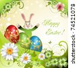 Easter card with bunny, flowers and decorated eggs - stock vector