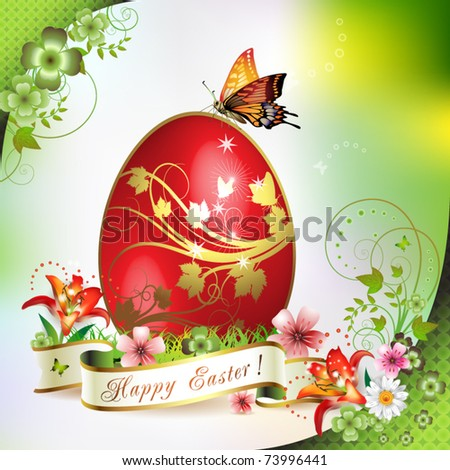 Easter card with butterflies and decorated egg on grass - stock vector