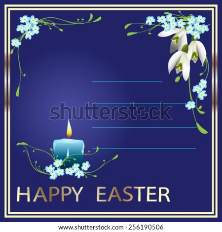 Easter card with candle, eggs and spring flowers - Vector illustration.