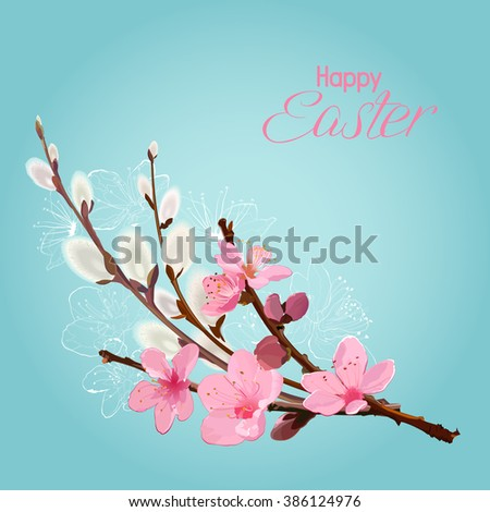 Easter card with cherry blossom and willow branches - stock vector