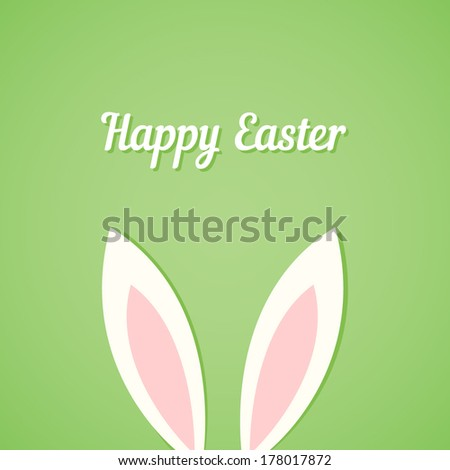 Easter card with ears of bunny on green - stock vector