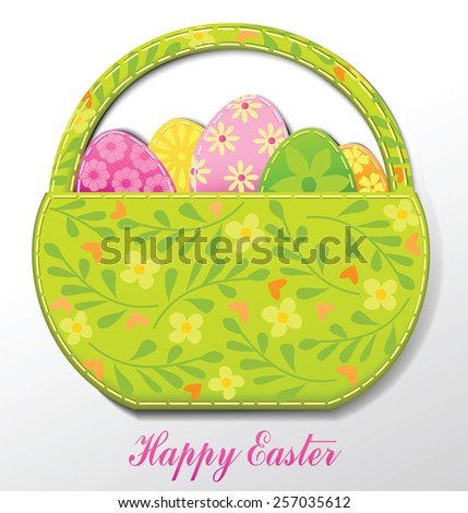 Easter card with Easter basket and eggs - stock vector