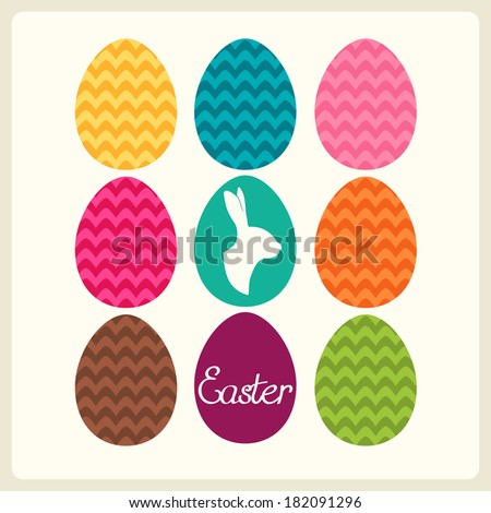 Easter card with easter eggs and easter bunny. Vector illustration. - stock vector
