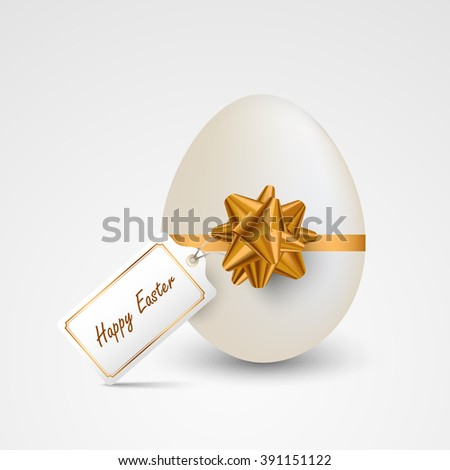 Easter card with egg ribbon and tag template - stock vector