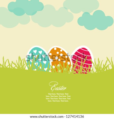 Easter card with eggs - stock vector