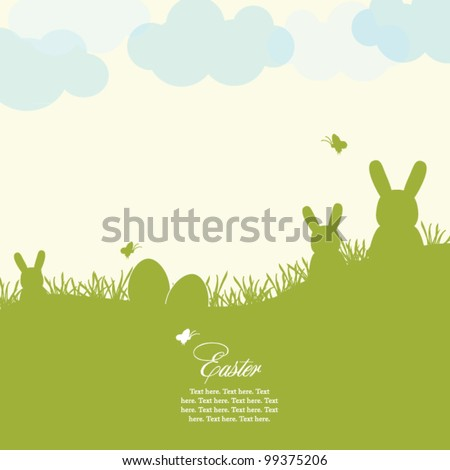 Easter card with eggs and rabbits - stock vector