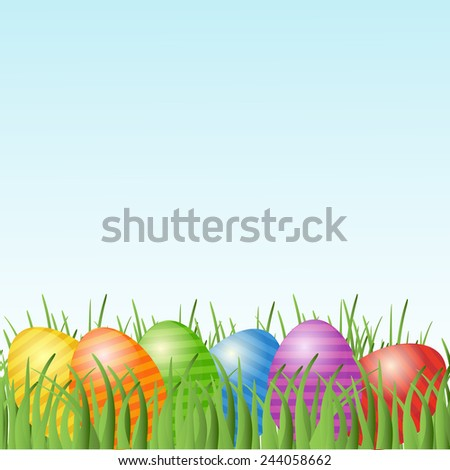 Easter card with eggs on green grass and place for your text